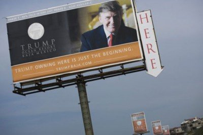 Billboard announcing the Trump resort in Baja.