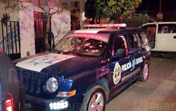 Police vehicle after last night's attack.
