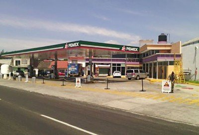 A shuttered gas station in Uruapan