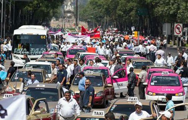 A recent taxi protest in Mexico City