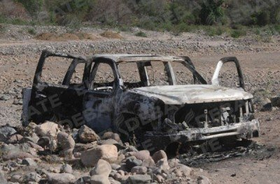 Burned out truck after military operation in Tamazula in June