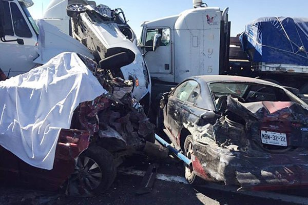 A scene from the wreckage following Thursday's accident.