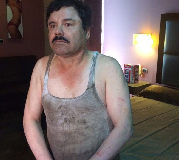 El Chapo after his capture this morning.
