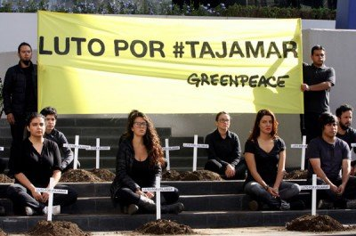 Environmental activists in mourning for Tajamar in Cancún.