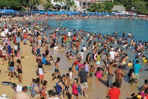 Mexican beach during Holy Week.
