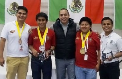Some of Mexico's medal-winning robotics enthusiasts.