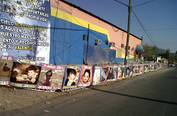 Photos of the victims outside the daycare in Hermosillo.