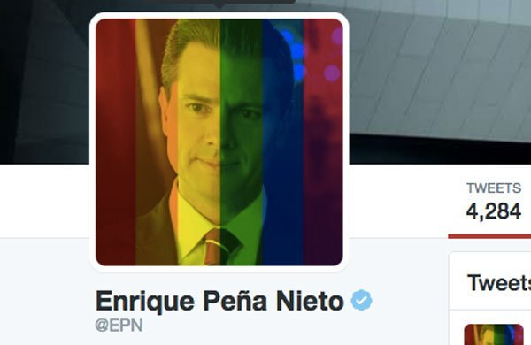 The president incorporated the rainbow flag into his Twitter avatar yesterday.