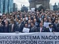 Business representatives protest in Mexico City.