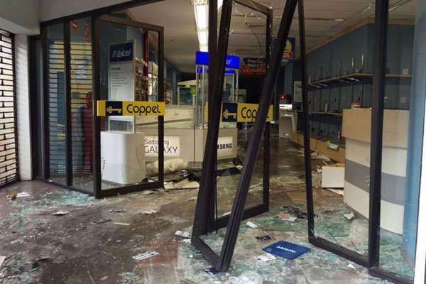 Coppel store that was looted last night in Oaxaca.