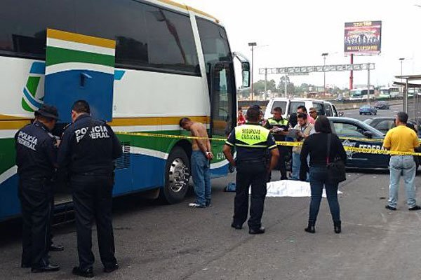 The lone surviving thief stands in handcuffs next to the bus yesterday.