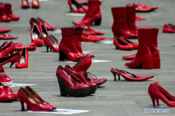 An exhibition of red shoes in Mexico City, intended to draw attention to violence against women.