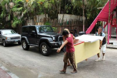 Furniture is removed from a Tulum hotel.