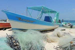 Fishboat on the beach at Isla Mujeres