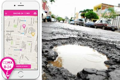 The smartphone app and a particularly nasty pothole.