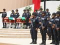 Police at the funeral of their three colleagues who were killed in an ambush.