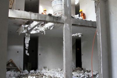 Demolition workers today at the site of illegal construction