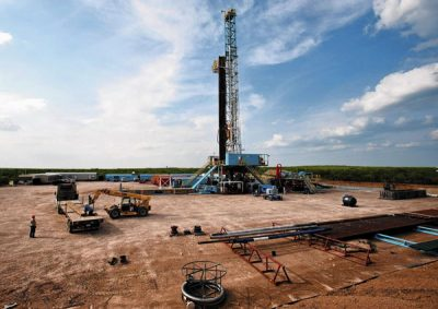 Drill rig at the Eagle Ford shale formation in Texas.