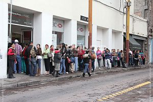 A bank lineup in Mexico