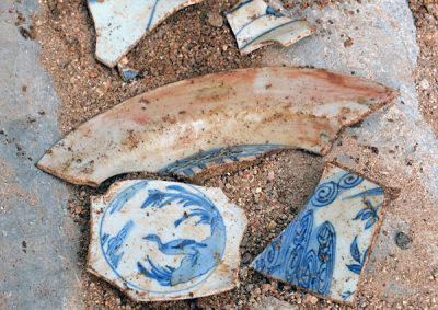 Some of the porcelain fragments discovered in Acapulco.