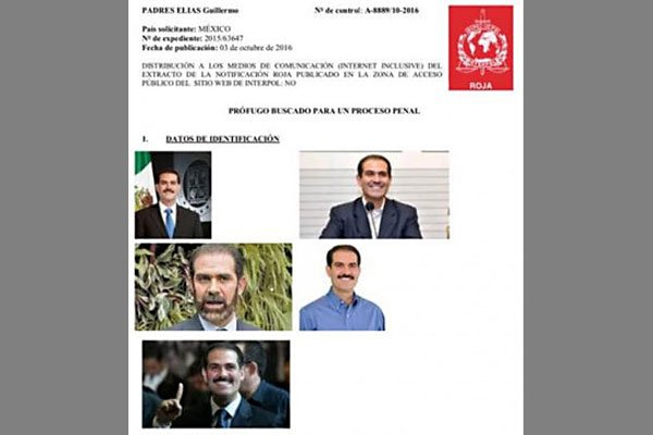 The Interpol notice issued for Padrés.