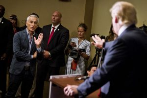 Reporter and Mexican immigrant Jorge Ramos and donald trump