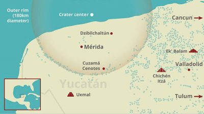 Location of the Chicxulub Crater in Yucatán.