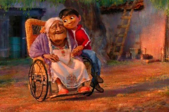 Miguel and his grandmother in a scene from Coco.