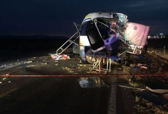 Wreckage of the bus involved in Thursday's accident.