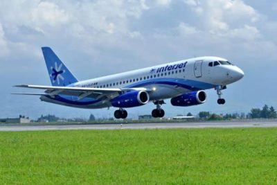 One of Interjet's Superjet 100 aircraft.
