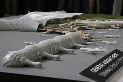 A scale model of Mexico City's new airport.