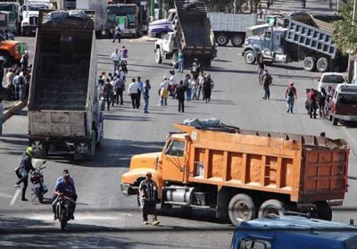 Truckers mount a blockade in Mexico City.