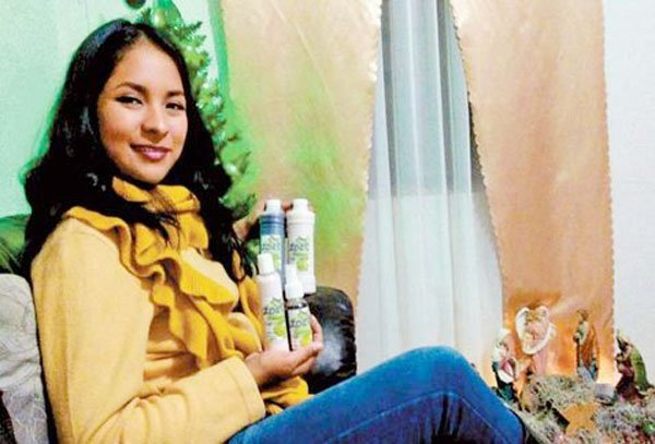 Cancer survivor González and her oncological products.