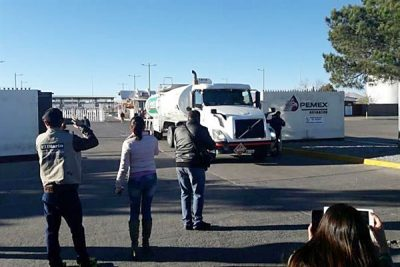 A Pemex truck leaves a distribution terminal this morning in Chihuahua.