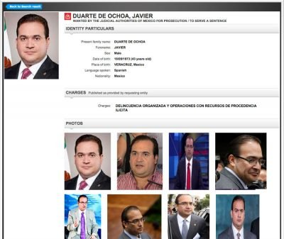 Interpol page containing details about Duarte.