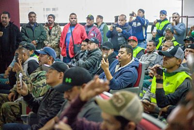 Tijuana garbage workers at Tuesday's meeting with the mayor