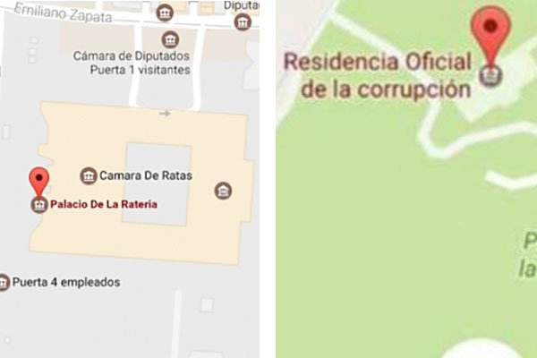 Google Maps edits: the Chamber of Deputies, left, and Los Pinos.