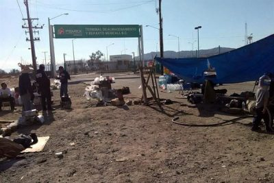 Protesters' blockade at Pemex terminal in Mexicali.