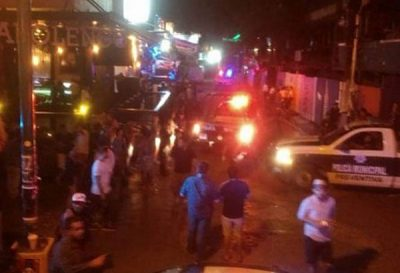 The scene in Playa del Carmen after this morning's shooting.