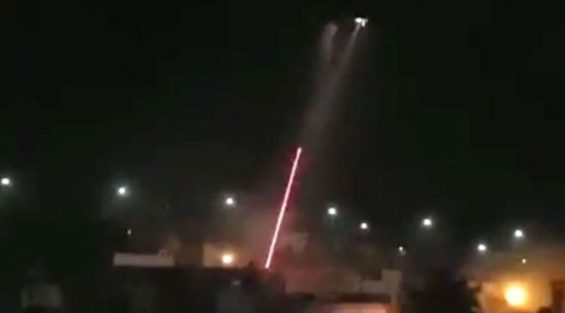 Helicopter gunship fires on a house in Tepic yesterday.
