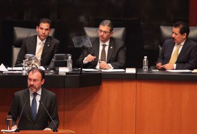 Videgaray at the Senate yesterday.