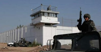 The prison from which five inmates escaped yesterday.