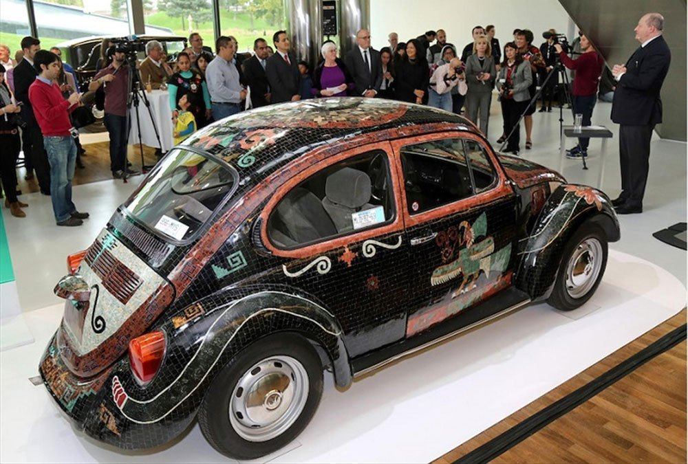 The Teotihuacán Beetle on display at the Volkswagen Museum.