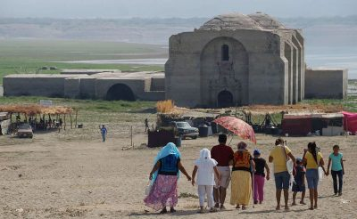 Receding water has left church accessible to tourists