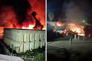 Flames rise from the Ciudad Victoria prison last night.