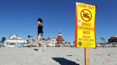 Signs have been posted on California beaches due to the spill.