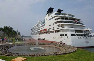 A cruise ship in Puerto Chiapas last year