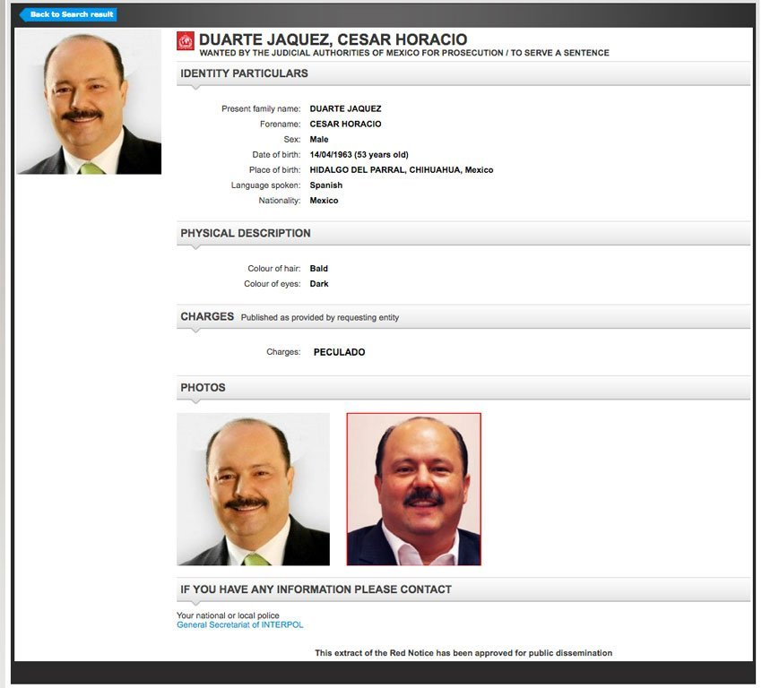 Duarte: now subject of an Interpol Red Notice.