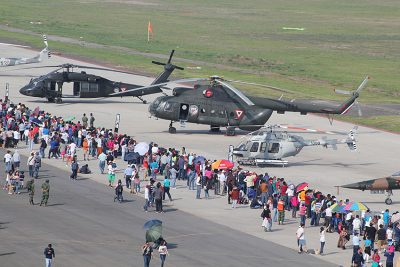Fair visitors check out helicopters at last year's event.