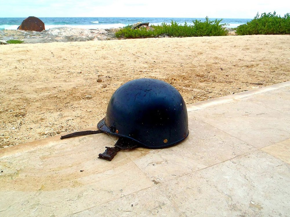 A motorcycle helmet was another find.